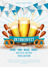 Oktoberfest Party Poster Illustration With Fresh Beer, Pretzel, Sausage And Blue And White Party Flag On White Background. Vector Illustration
