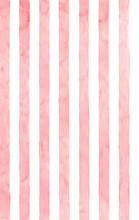 Pink Vertical Stripes. Handmade Watercolor.Seamless Pattern.