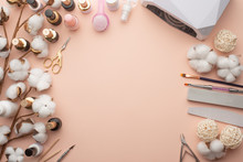 The Concept Of Nail Art. Background For Advertising A Manicure Salon And Care For Nails, Close-up. Nails Care, With Space, Flat Lay, Top View