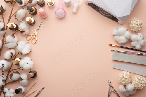 the-concept-of-nail-art-background-for-advertising-a-manicure-salon-and-care-for-nails-close-up-nails-care-with-space-flat-lay-top-view