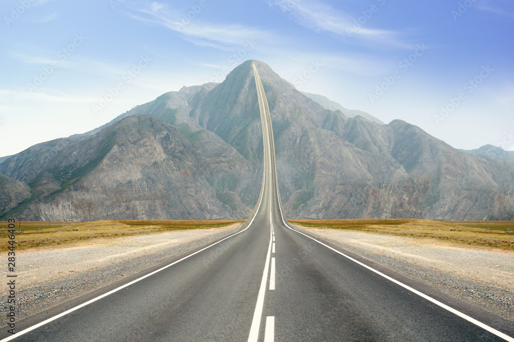 Fototapety, obrazy: Concept of the road to success. Road Up in the peak of mountain.