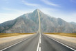 canvas print picture - Concept of the road to success. Road Up in the peak of mountain.