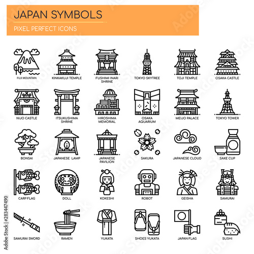 Photographie Japan Symbols , Thin Line and Pixel Perfect Icons