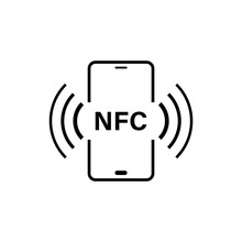 NFC Smartphone Connection Icon Isolated On White Background.