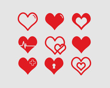 Red Hearts Vector Illustrations Set Valentines Day