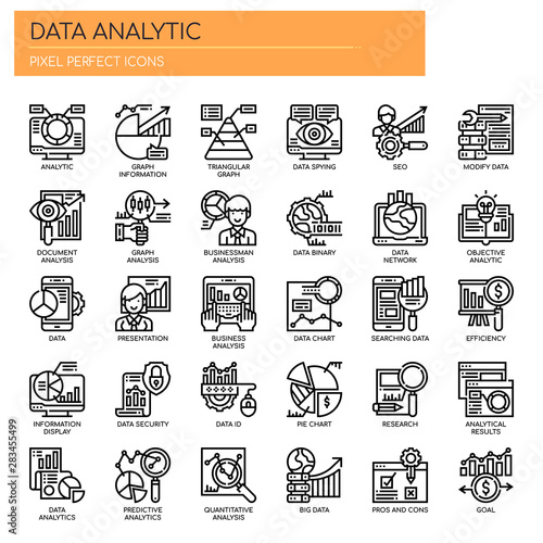 Obraz na plátne Data Analytic , Thin Line and Pixel Perfect Icons