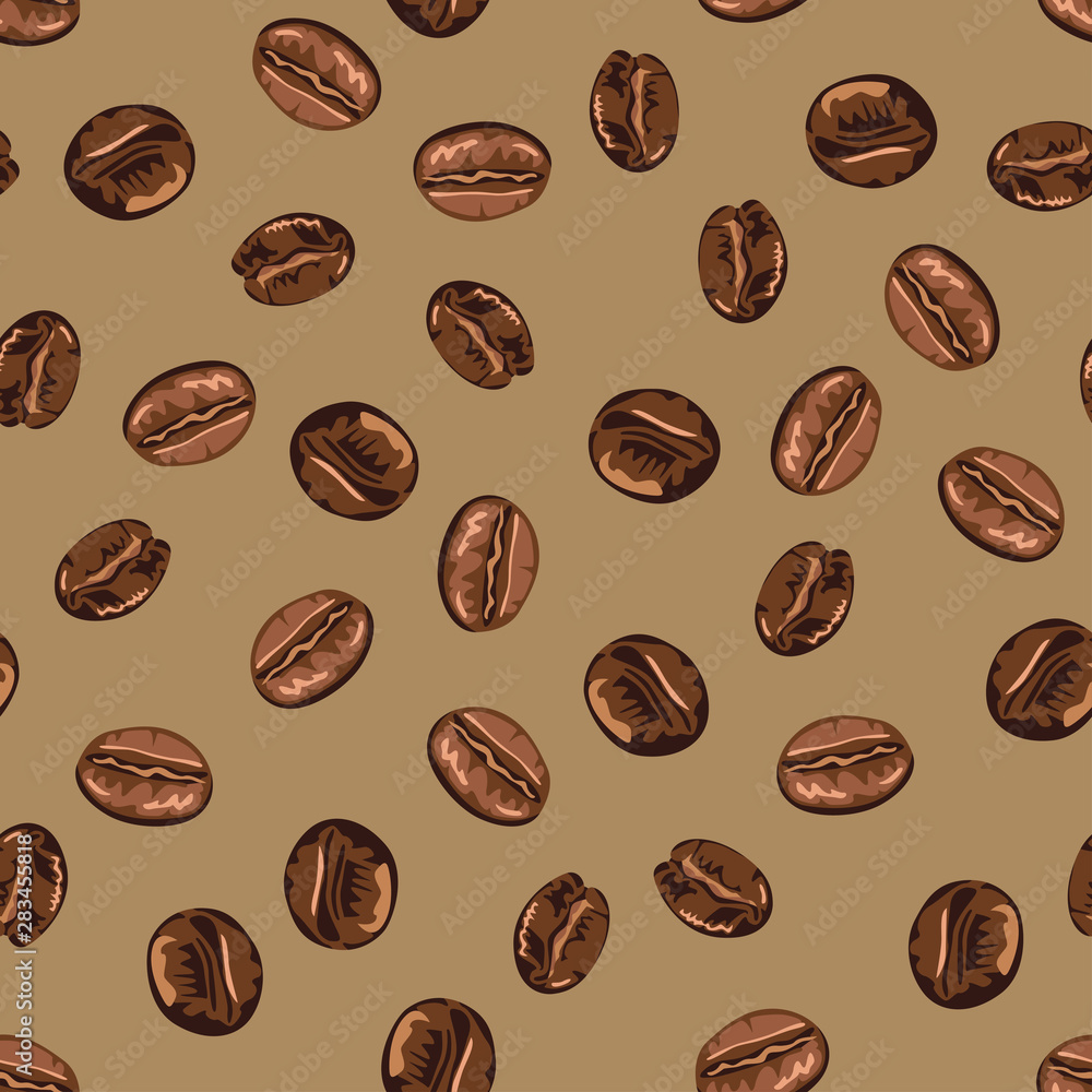 Vector coffee beans seamless pattern on a brown background. Food Illustration in cartoon simple flat style.