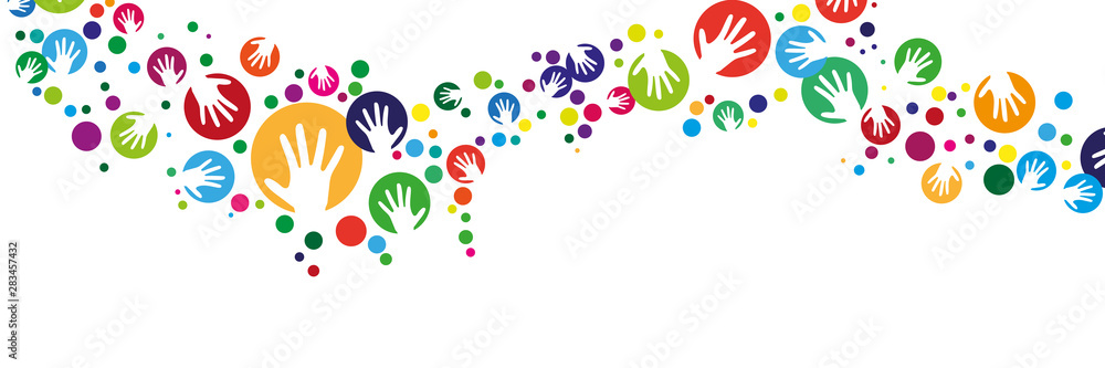 Fototapeta Handsilhouette mit Kreis girlande banner