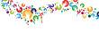 Handsilhouette mit Kreis girlande banner