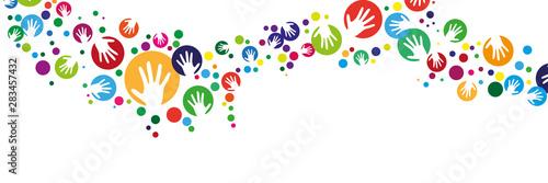 Handsilhouette mit Kreis girlande banner - 283457432