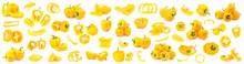 Set Of Ripe Yellow Bell Pepper...