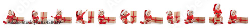 Obraz Set of cute little baby in Christmas costume and gift on white background. Banner design - fototapety do salonu