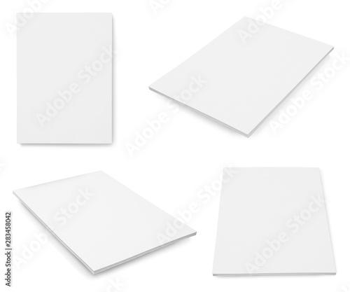 Set of blank brochures on white background. Mock up for design Wall mural