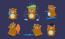 Cute Brown Guinea Pig Character Set, Funny Cavy Anima In Different Situations Vector Illustration