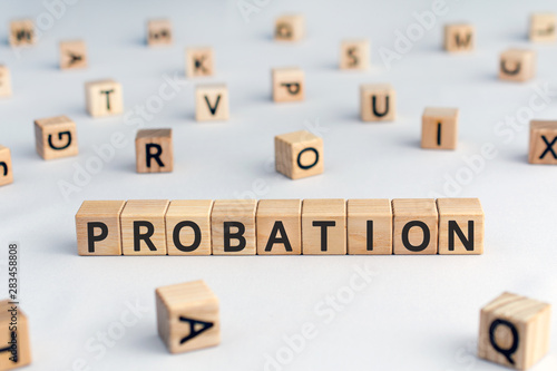 probation - word from wooden blocks with letters, time criminal is allowed to st Wallpaper Mural