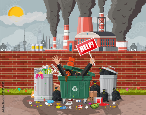 Fototapety, obrazy: Plant smoking pipes. Smog in city. Trash emission from factory. Environmental disaster. Garbage bin full of trash. Environmental pollution ecology nature. Vector illustration flat style