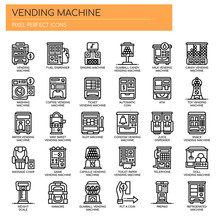 Vending Machine , Thin Line And Pixel Perfect Icons