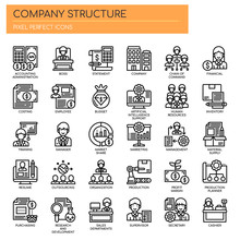 Company Structure , Thin Line And Pixel Perfect Icons