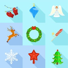 Christmas Time Icon Set. Flat Set Of 9 Christmas Time Vector Icons For Web Design Isolated On White Background