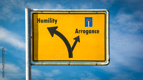 Street Sign to Humility versus Arrogance Wallpaper Mural