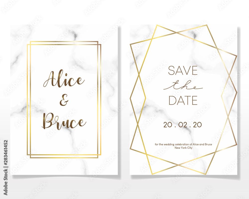 Obraz Wedding Invitation Card Design With Golden Frames And