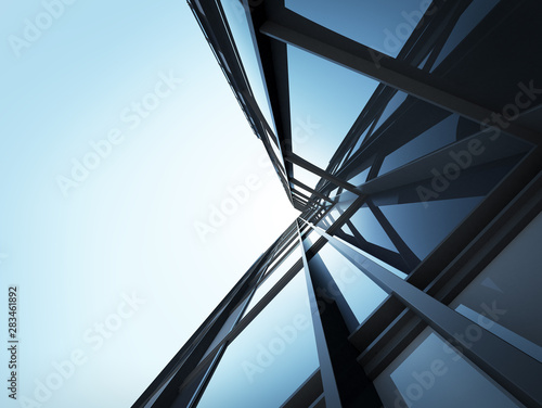 Fotografia View of high rise glass building and dark steel window system on blue clear sky background,Business concept of future architecture,looking up to the sun light on the top of building