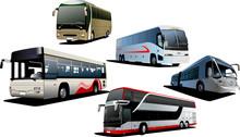 Five City Buses. Tourist Coach. Vector Illustration