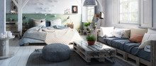 Truss Loft Bedroom With Pallet Furniture - 3d Visualization