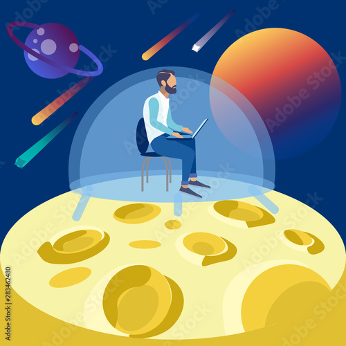 The programmer works on the moon, seclusion in space. In minimalist style Cartoon flat raster Wall mural