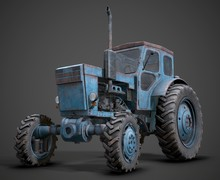 3d Illustration Of Old Tractor