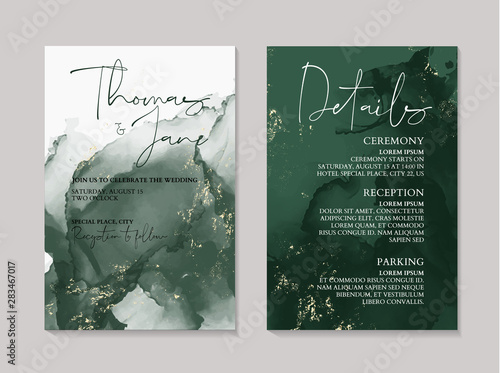 Fotomural Wedding green luxury invitation cards with gold  marble texture background and A