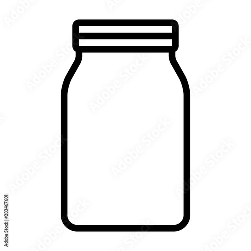 Mason jar glass container line art vector icon for food apps and websites Slika na platnu