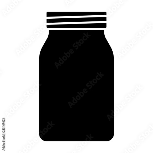 Fotografia Mason jar glass container flat vector icon for food apps and websites