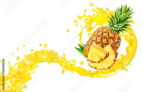 Stampa su Tela Fresh ripe pineapple, slice and pineapple juice 3D splash wave