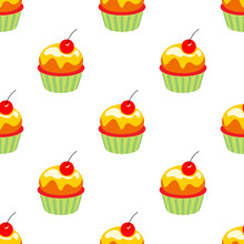 Little Delicious Cupcakes Seamless Pattern Muffins With Cherry