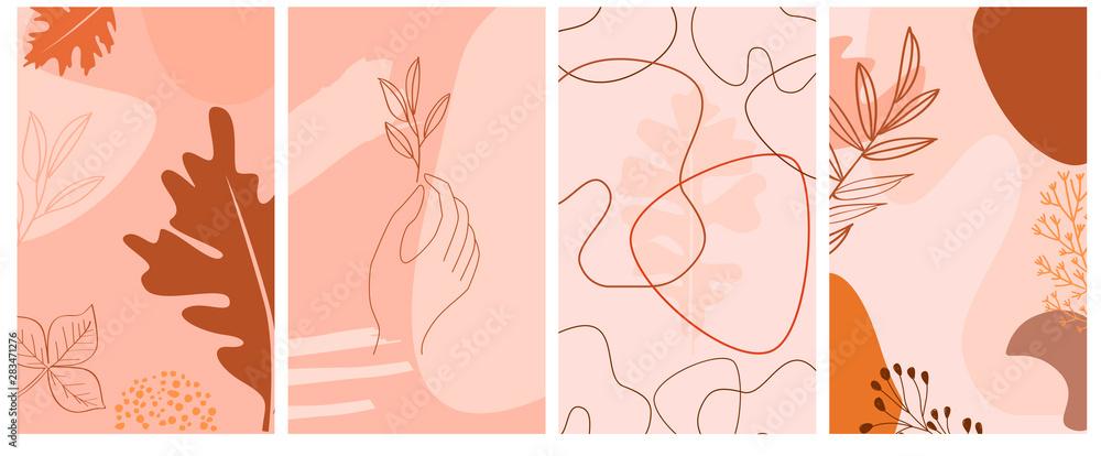 Zestaw streszczenie tło pionowe z jesiennych elementów, kształtów, roślin i ludzkich rąk w jednym stylu linii. Tło minimalistycznego stylu strony aplikacji mobilnej. Ilustracji wektorowych <span>plik: #283471276 | autor: miobuono</span>