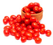 Leinwandbild Motiv Red cherry tomatoes on a white background