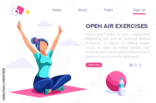 Fototapeta Relaxation Sport Clipart. Healthy Old Wear, Lifestyle, Together Activity, Energy Clip. Open Air Leisure for Exercise Playing. Cartoon Flat Vector Illustration Hero Image Isometric Banner. obraz na płótnie