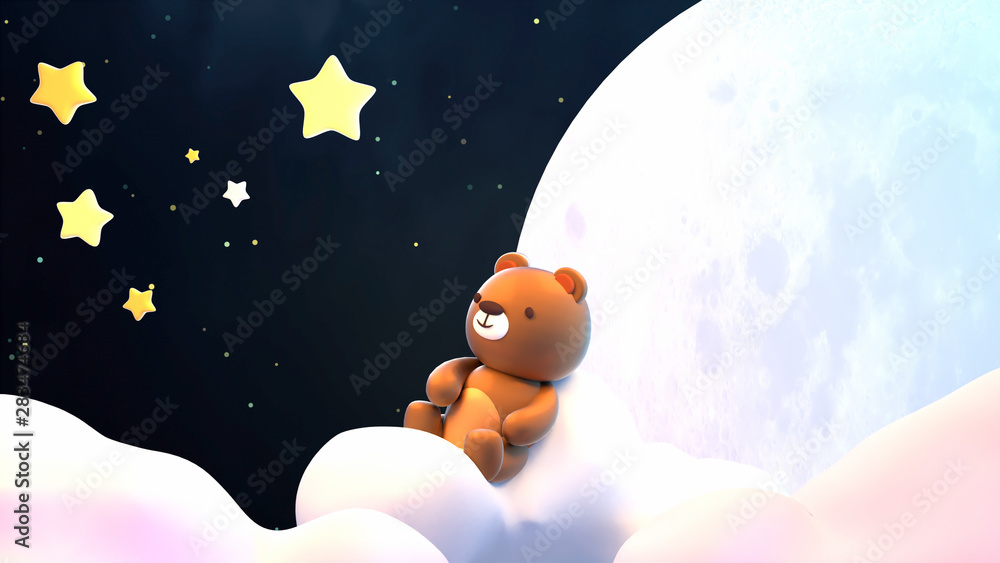 Fototapety, obrazy: Cute little bear sitting on soft pastel clouds and watching beautiful night sky with stars in front of the white full moon. 3d rendering picture.