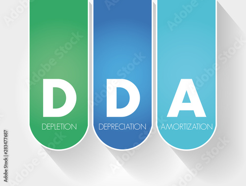 Fotografie, Obraz  DDA - Depletion Depreciation Amortization acronym, business concept background