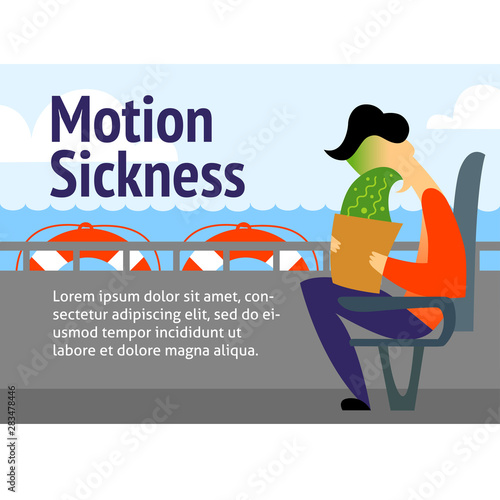 A vector image of a man in the transport with motion sickness Fototapet