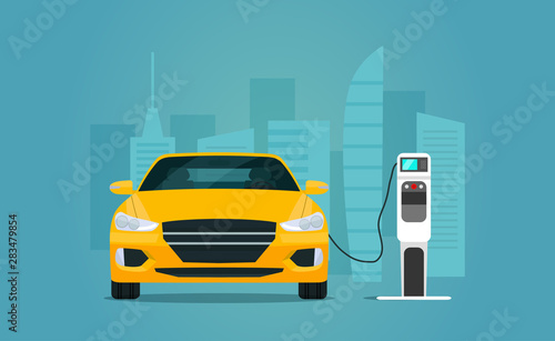 Photo sur Toile Cartoon voitures Electric sedan car isolated. Electric car is charging, front view. Vector flat style illustration.