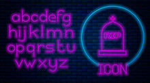 Glowing Neon Tombstone With RIP Written On It Icon Isolated On Brick Wall Background. Grave Icon. Neon Light Alphabet. Vector Illustration