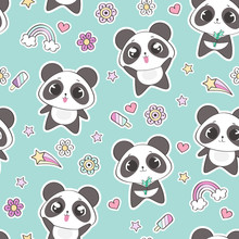 Seamless Pattern With Cute Pan...