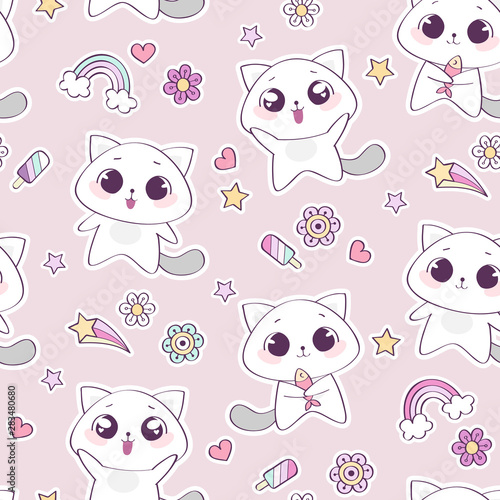 obraz lub plakat Seamless pattern with cute cat character, vector illustration