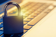 Padlock On Laptop. Internet Data Privacy Information Security Concept. Antivirus And Malware Defense.