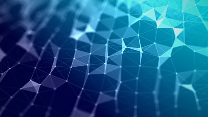 Abstract background Dot and connect line for cyber technology futuristic and network connection concept with dark and grain processed wide screen ratio.