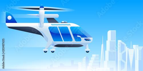 Fotomural Futuristic air taxi flat vector illustration