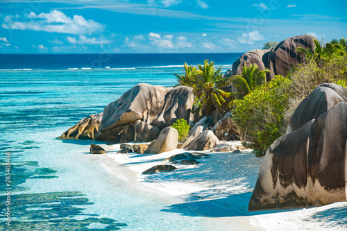 Poster de jardin Plage The most beautiful beach of Seychelles - Anse Source D'Argent