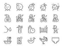 Baby Icon Set. Included Icons As Newborn, Infant, Kid, Children, Parent And More.